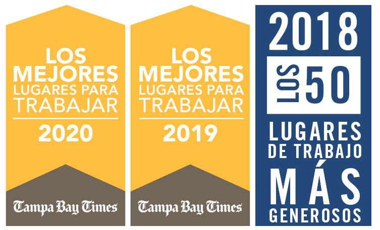 Logotipos de los mejores lugares de trabajo de Tampa Bay Times y United Way