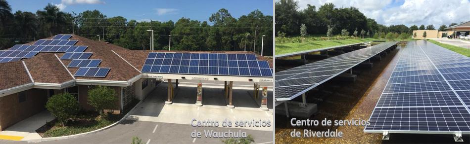 Paneles solares de Suncoast Credit Union en sus centros de servicios