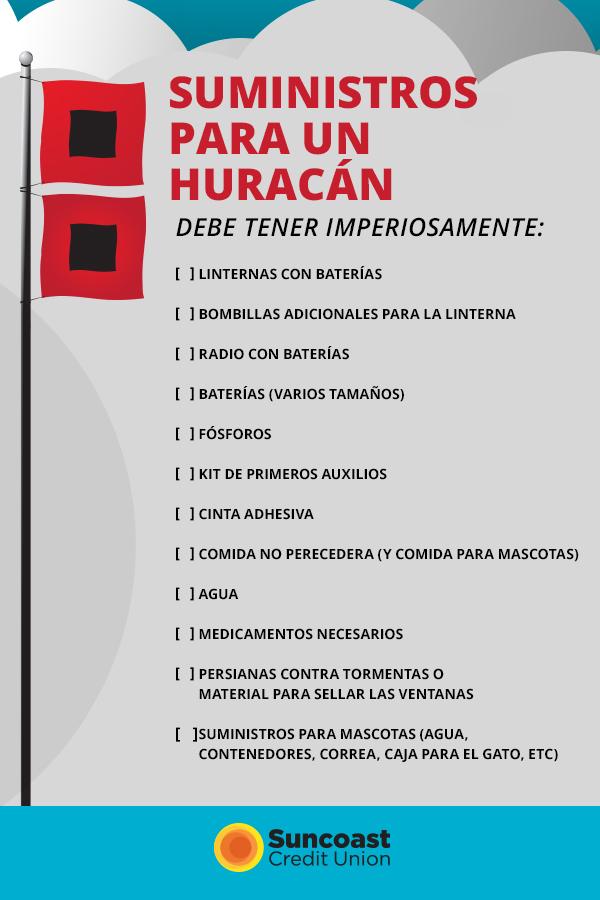 Una lista de suministros para huracán que necesita tener a mano.