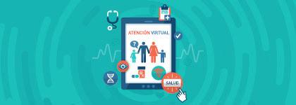 Ilustración de una tableta y los íconos de los servicos médicos